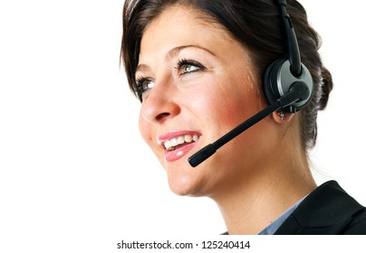 Portrait of a beautiful customer representative. Isolated on white
