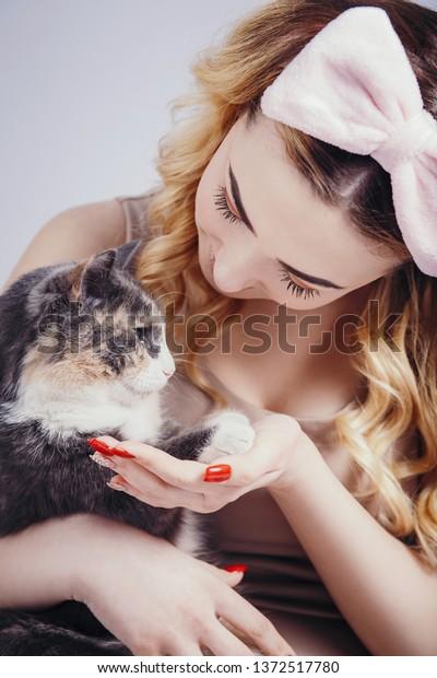 Portrait Beautiful Cute Girl Cat Handsyoung Stock Photo Edit Now 1372517780