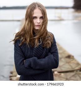 Portrait of a beautiful cute girl outdoors