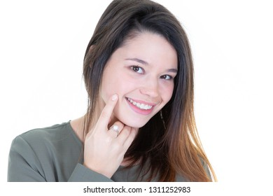 Portrait of beautiful cute woman girl hand touch cheek and smile attractive, face on white background