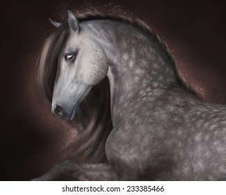 A portrait of a beautiful dappled gray horse with reddish background.