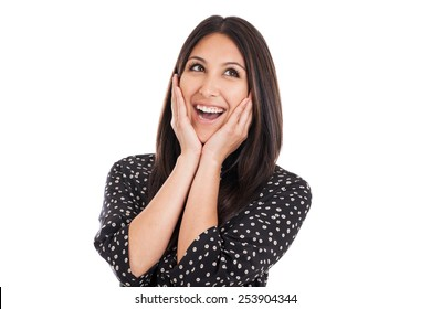Portrait of a beautiful early 20s mixed race Mexican Japanese business woman with happy surprise expression isolated on white