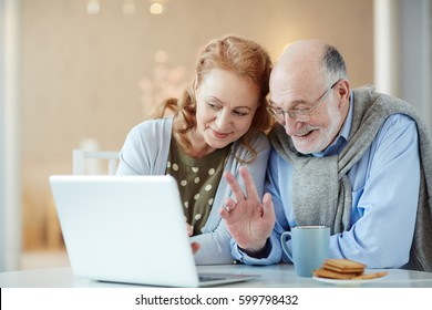 Portrait of beautiful elderly couple waving to laptop camera saying Hello video chatting with family using modern laptop and smiling happily