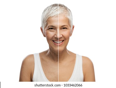 Portrait of a beautiful elderly woman, aging concept, isolated on white background