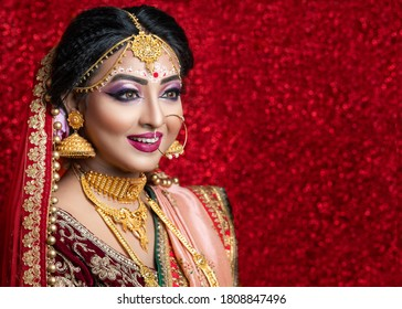 Portrait of a Beautiful Elegant Female Model in Traditional Ethnic Indian Bridal Costume with Makeup and Heavy Jewellery.