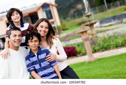 Portrait of a beautiful family looking very happy and smiling