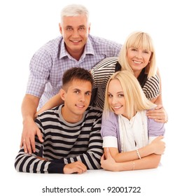 portrait of beautiful family unity isolated on white