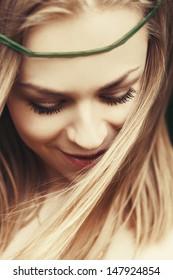 portrait of a beautiful fashion girl close-up