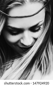 portrait of a beautiful fashion girl close-up black and white