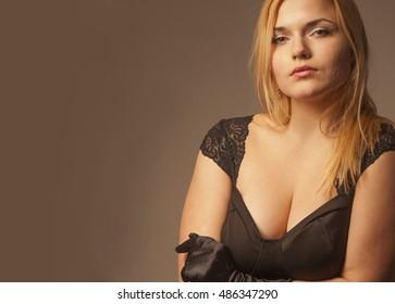 Portrait of beautiful fashion model indoors