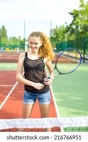 Portrait of a beautiful female athletes on the tennis court