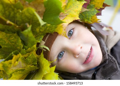Portrait of beautiful four-year-old boy in a wreath from autumn leaves outdoors