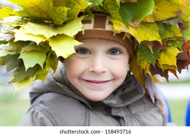 Portrait of beautiful four-year-old boy in a wreath from autumn leaves