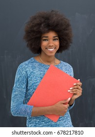 portrait of a beautiful friendly African American woman with a curly afro hairstyle and red folder isolated on a gray background