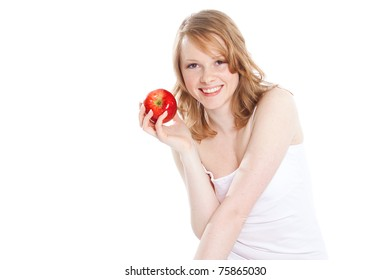 Portrait of beautiful girl with apple