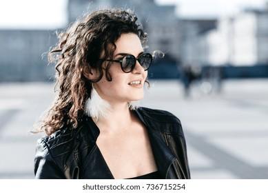 Portrait of a beautiful girl in black