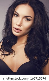 portrait of beautiful girl with black hair