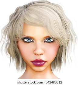 Portrait beautiful girl with blue eyes and red lips. Soft skin. Blonde hair. Bright makeup. Facial expressions and emotions. Photorealistic 3D render illustration. Isolate.