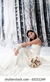Portrait of beautiful girl in bride dress