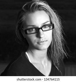 portrait of beautiful girl in glasses