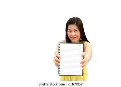 Portrait of beautiful girl hold her book against white background .