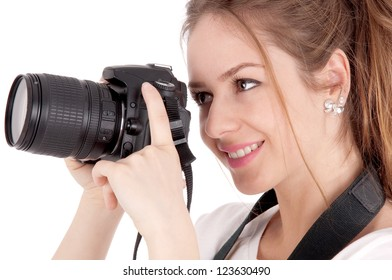 Portrait of beautiful girl  making photos