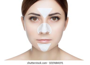 Portrait of a beautiful girl with a mask from acne on the nose and t-zone.