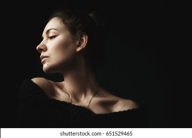 portrait of a beautiful girl on dark background/ Glamour fashion portrait in profile/