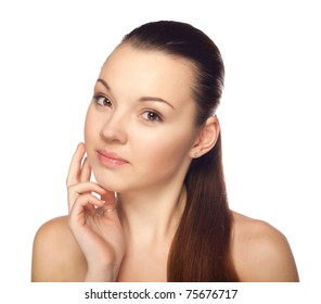 Portrait of a beautiful girl on a white background, beauty, health.