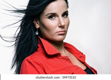 portrait of a beautiful girl in red