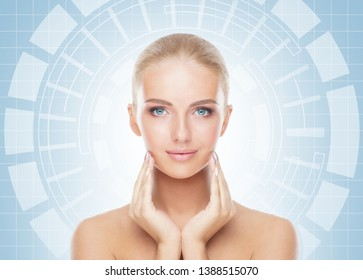 Portrait of beautiful girl with a scnanning grid on her face. Woman with face id scanner. Biometric verification, security, facial recognition, future technology.