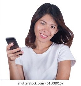 Portrait beautiful girl smiling in feeling happy business with smartphone isolated on white background. Businesswoman concept.  Asian woman.
