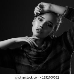 Portrait of a beautiful girl in studio
