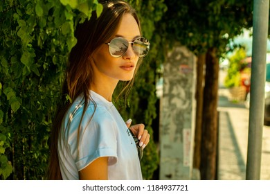 portrait of beautiful girl in a tropics