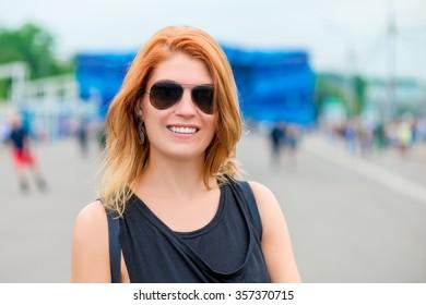 portrait of a beautiful girl in urban location