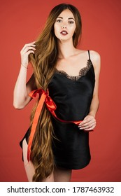 Portrait of beautiful girl with very long hair. Woman with long healthy hair. Hair cosmetics. Beautiful model with very long hair. Wellness and spa. Hairdresser, beauty salon. Hairstyle and health.