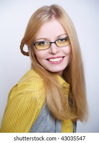 Portrait of beautiful  girl wearing glasses
