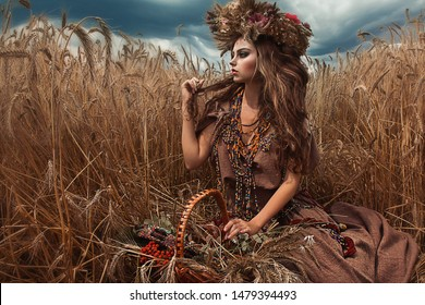 portrait of beautiful girl in wheat field. charming blonde slav with a wheat wreath on her head. rich wheat crop in a basket. russian girl. profile