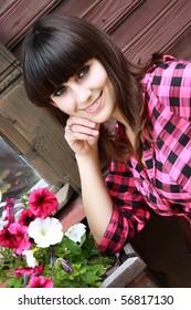 portrait beautiful girl whis brown hair