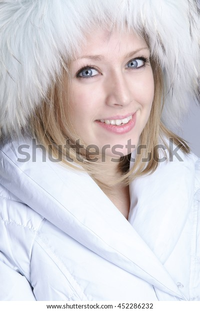 Portrait Beautiful Girl White Jacket Fur Stock Photo Edit