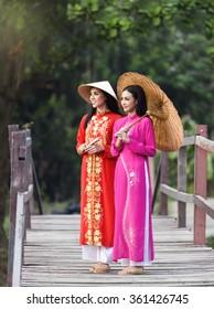 Portrait of beautiful girls with Ao Dai