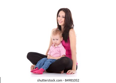 Portrait of a beautiful happy mother with smiling child 2 years boy isolated on white