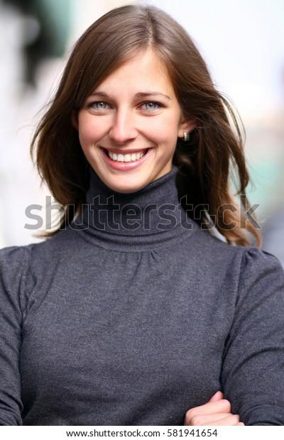 Portrait of beautiful happy woman outdoor