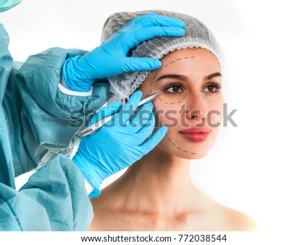 Portrait Beautiful Healthy Woman Arrows On Stock Photo (Edit