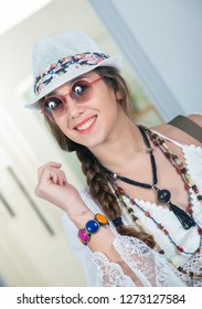 a portrait of beautiful hippie girl