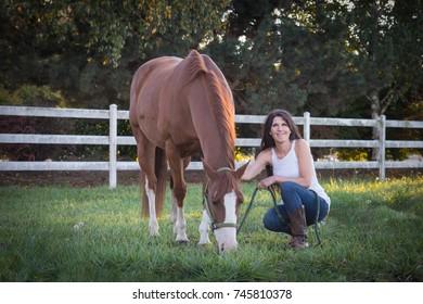 Portrait of a beautiful horse woman.
