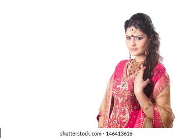portrait of beautiful Indian bride with copyspace