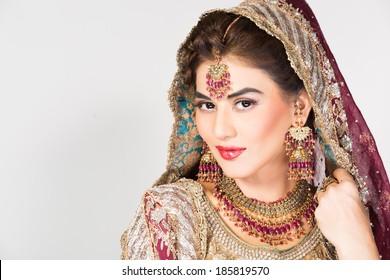 portrait of beautiful Indian bride, happy indian bride