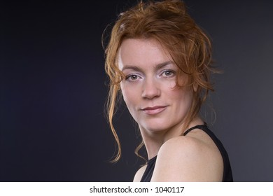 portrait of a beautiful lady in evening dress with copyspace