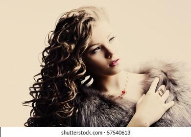 portrait of a beautiful lady in fur